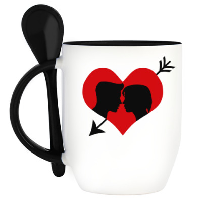 Кружка с ложкой Сердце хочет любви