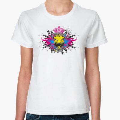 Классическая футболка Лев (lion grunge)