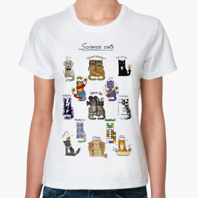 Классическая футболка История открытий в котиках