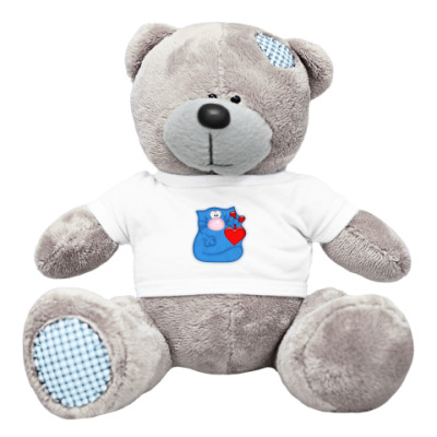Плюшевый мишка Тедди Кот с сердечком