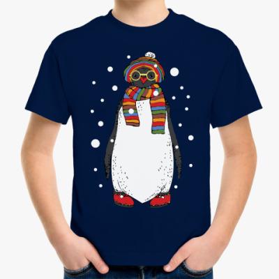 Детская футболка Новогодний пингвин в шапке
