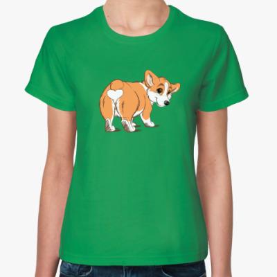 Женская футболка corgi butt