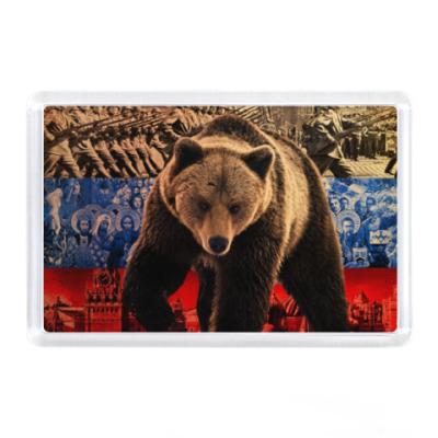 Магнит Медведь и флаг России