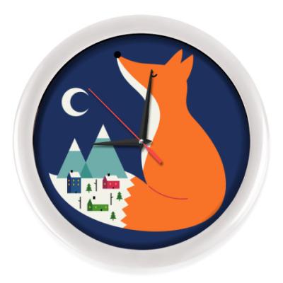 Настенные часы Зимний лис