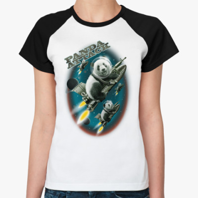 Женская футболка реглан Панды атакуют