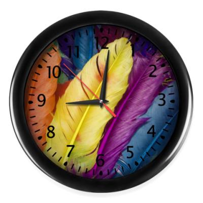 Настенные часы 'Яркие перья'