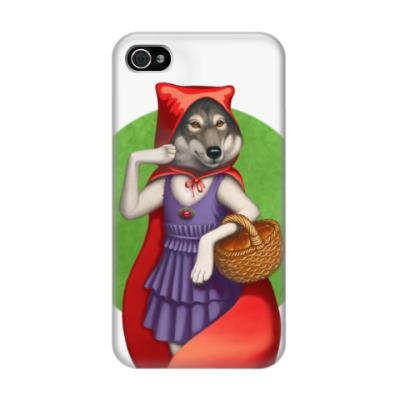 Чехол для iPhone 4/4s Волк в красном
