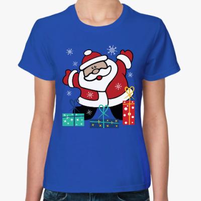 Женская футболка Дед Мороз с подарками