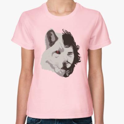 Женская футболка Волк Джон Сноу