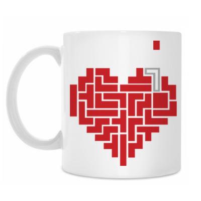 Кружка сердце тетрис