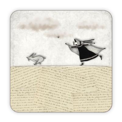 Костер (подставка под кружку) Charlotte Bronte and a rabbit