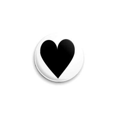 Значок 25мм Сердце  25 мм