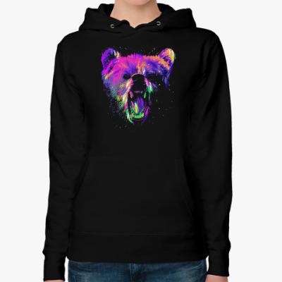 Женская толстовка худи Абстрактный медведь