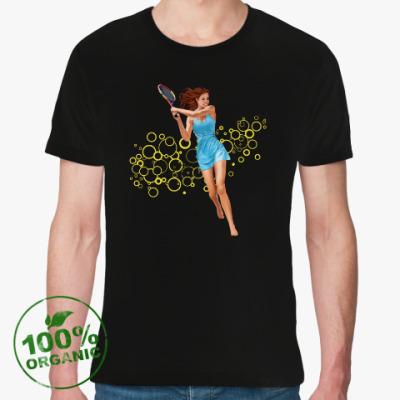 Футболка из органик-хлопка Девушка с теннисной ракеткой