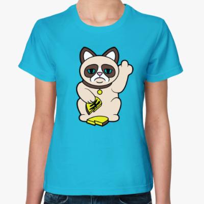 Женская футболка Tard Grumpy Cat Maneki Neko