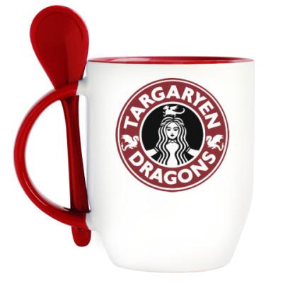Кружка с ложкой Драконы Таргариен