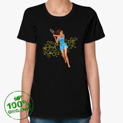 Женская футболка из органик-хлопка Девушка с теннисной ракеткой