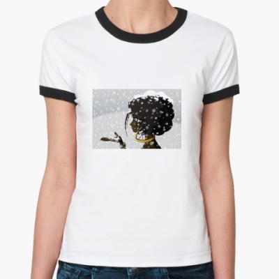 Женская футболка Ringer-T  «Черное и Белое»