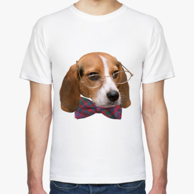 Футболка Собака в очках и бабочке