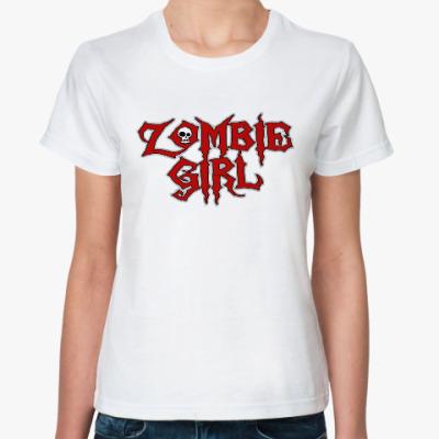 Классическая футболка Зомби девушка
