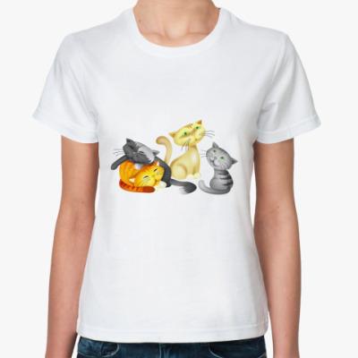 Классическая футболка Сонные кошки