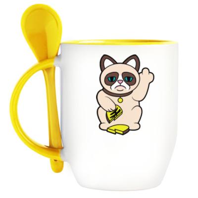 Кружка с ложкой Tard Grumpy Cat Maneki Neko