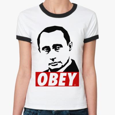 Женская футболка Ringer-T Путин (Стиль Obey)