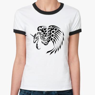 Женская футболка Ringer-T единорог