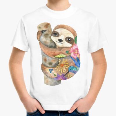 Детская футболка Маленький ленивец, милый малыш, акварельный принт