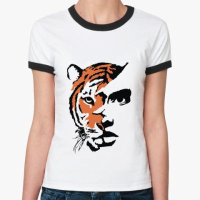 Женская футболка Ringer-T Тигр рыжий