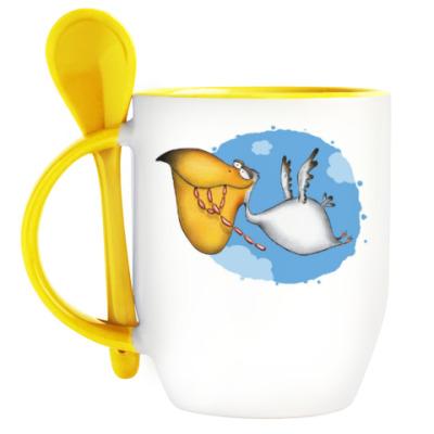 Кружка с ложкой Пеликан