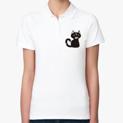 Женская рубашка поло  кот с рыбкой