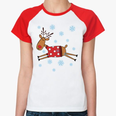 Женская футболка реглан Новогодний олень в свитере