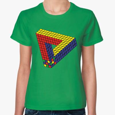 Женская футболка Оптическая иллюзия «Кубик Рубика»