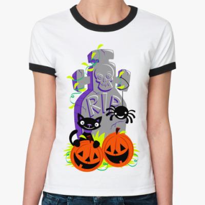 Женская футболка Ringer-T RIP  Ж(бел/чёрн)