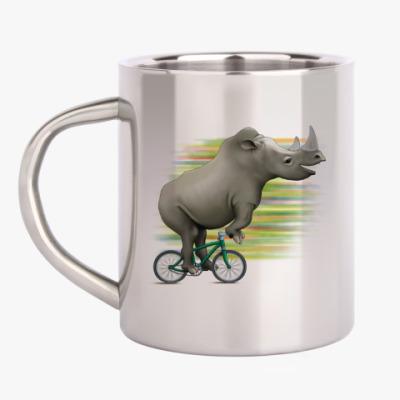 Кружка металлическая Носорог на велосипеде