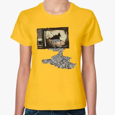 Женская футболка Разбитый телевизор
