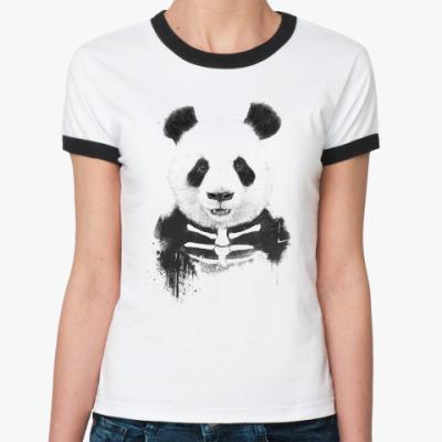 Женская футболка Ringer-T Панда Зомби