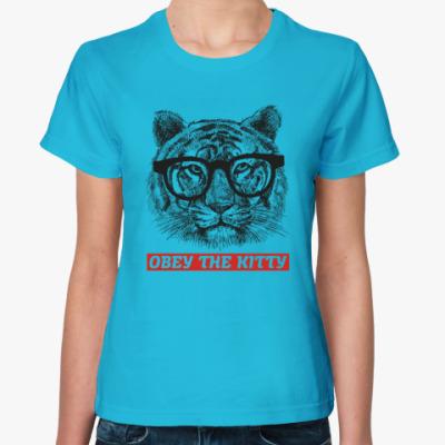 Женская футболка Obey. Кот. Кошка. Cat. Kitty.