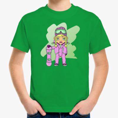 Детская футболка Девушка сноубордистка