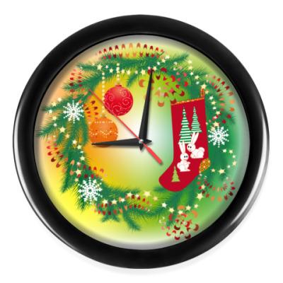 Настенные часы Новогодний венок