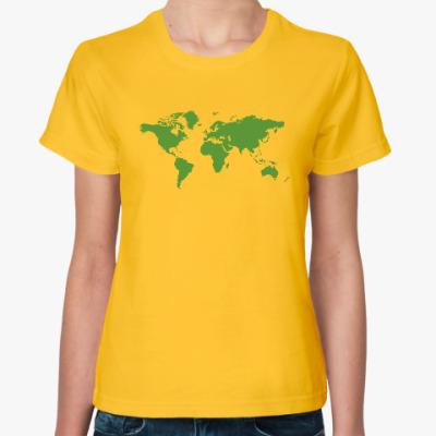 Женская футболка Карта мира - Шелдон Купер