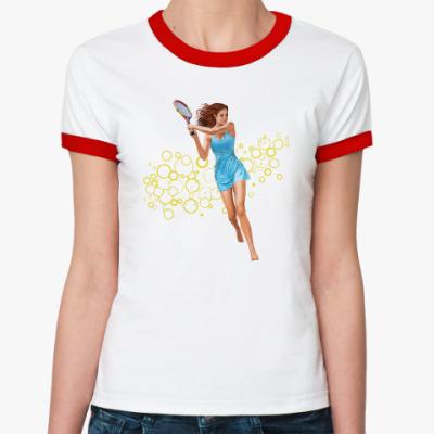 Женская футболка Ringer-T Девушка с теннисной ракеткой