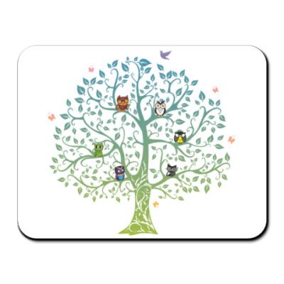 Коврик для мыши Совы на дереве