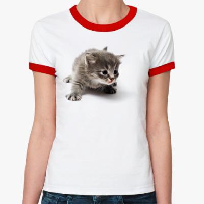 Женская футболка Ringer-T Любопытный котенок