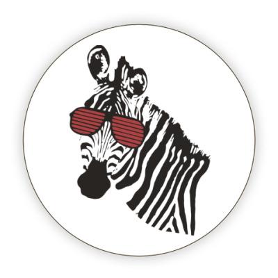 Костер (подставка под кружку) Зебра в очках