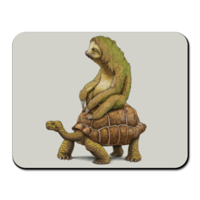 Коврик для мыши Ленивец на черепахе