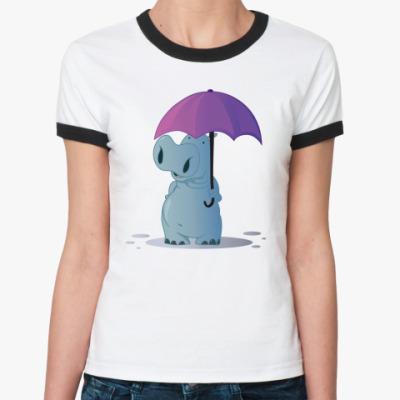 Женская футболка Ringer-T бегемотик с зонтом