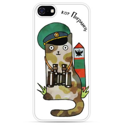 Чехол для iPhone Кот пограничник охраняет границу