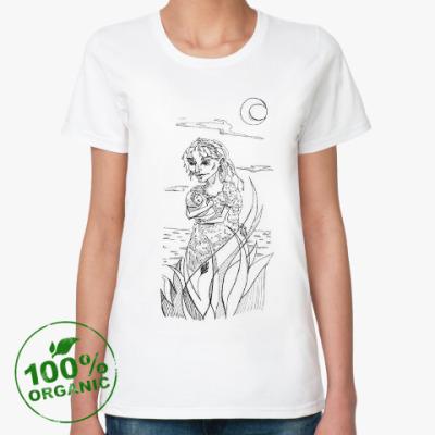 Женская футболка из органик-хлопка Гравюра 'Кикимора'